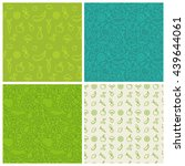 vector set of green seamless... | Shutterstock .eps vector #439644061