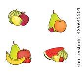 set of fruit   melon  lemon ...