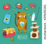Stock vector funny set of cat life icons cat food and toys vector illustrations 439650181
