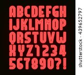 retro red neon tube alphabet... | Shutterstock .eps vector #439652797