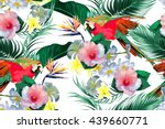 parrots  tropical flowers  palm ... | Shutterstock .eps vector #439660771