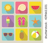 summer vector color icons set | Shutterstock .eps vector #439661101