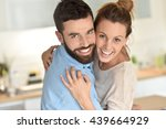 cheerful hipster couple... | Shutterstock . vector #439664929