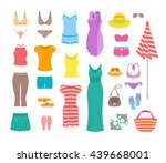 summer female outfit flat... | Shutterstock .eps vector #439668001