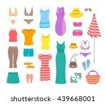 summer female outfit flat... | Shutterstock .eps vector #439668001