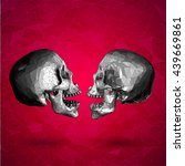 low poly vector graphic skull... | Shutterstock .eps vector #439669861