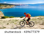 mountain biker riding on bike... | Shutterstock . vector #439677379