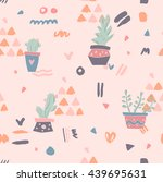 vector pattern with succulent... | Shutterstock .eps vector #439695631
