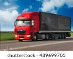 red trailer on schosse.... | Shutterstock . vector #439699705