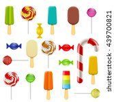set of candy  sweets and ice... | Shutterstock .eps vector #439700821