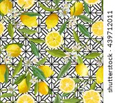 seamless floral pattern. lemon... | Shutterstock .eps vector #439712011