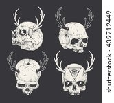 set of horned skulls. hand... | Shutterstock .eps vector #439712449