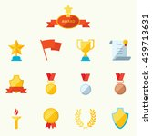 set of flat vector icons sports ... | Shutterstock .eps vector #439713631