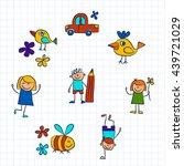 kindergarten doodle pictures on ... | Shutterstock .eps vector #439721029