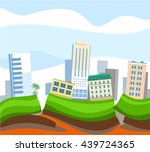 earthquake in the city  colored ... | Shutterstock .eps vector #439724365