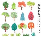 set of watercolor trees....   Shutterstock . vector #439725331