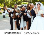groom and friends point fingers ... | Shutterstock . vector #439727671
