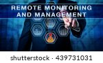 Small photo of Male corporate business administrator in blue is pushing REMOTE MONITORING AND MANAGEMENT on an interactive control screen. Remote administration software concept. Industry term abbreviated as RMM.