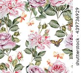 watercolor pattern with peony... | Shutterstock . vector #439736929