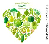 vegetarian food icon set with... | Shutterstock .eps vector #439738411