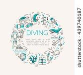 diving icons set. underwater... | Shutterstock .eps vector #439740187