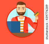 a hipster man with the beard... | Shutterstock .eps vector #439776289