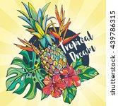 set of vector tropical elements.... | Shutterstock .eps vector #439786315