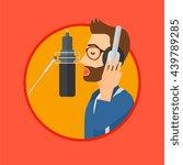 young man in headphones singing ... | Shutterstock .eps vector #439789285