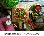 fresh italian  pizza on wood.... | Shutterstock . vector #439789699