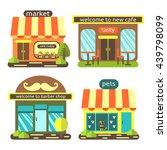 cute flat style street shops... | Shutterstock .eps vector #439798099