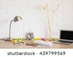 messy hipster desktop with... | Shutterstock . vector #439799569