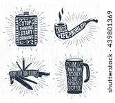 hand drawn vintage badges set... | Shutterstock .eps vector #439801369