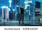 man taking selfie at rooftop on ... | Shutterstock . vector #439810039