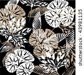 art vintage floral autumn black ... | Shutterstock .eps vector #43981135
