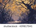 Night Scene Of Autumn Forest...