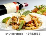 italian pasta w chicken pieces... | Shutterstock . vector #43983589