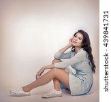 teenager girl in a blue dress... | Shutterstock . vector #439841731