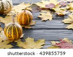 Autumn Dark Wooden Background...
