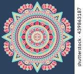 flower mandalas. vintage... | Shutterstock . vector #439863187