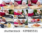 collage picture of chef making... | Shutterstock . vector #439885531