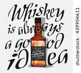 whiskey glass bottle in cartoon ... | Shutterstock .eps vector #439904611