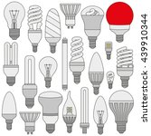 ligth lamps set. colored... | Shutterstock . vector #439910344