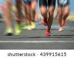 marathon runners in the race... | Shutterstock . vector #439915615