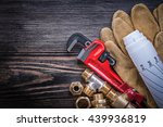 safety gloves monkey wrench... | Shutterstock . vector #439936819