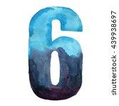 watercolor decorative number 6. ... | Shutterstock . vector #439938697