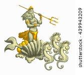neptune with golden trident...   Shutterstock .eps vector #439943209