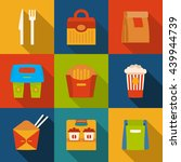 set with fast food icons. take... | Shutterstock .eps vector #439944739