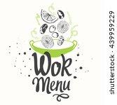 vector illustration with wok...