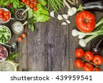 vegetables  herbs and spices on ... | Shutterstock . vector #439959541