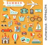 flat icons set with long shadow ... | Shutterstock .eps vector #439966294